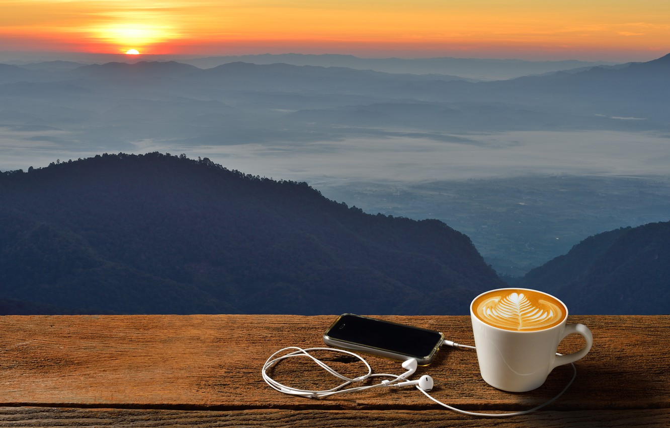 Photo wallpaper dawn, coffee, morning, Cup, hot, coffee cup, good morning