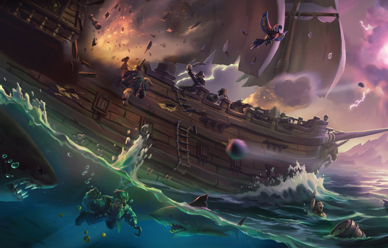 Wallpaper Sword Game Sea Pirate Hat Ken Blade Shark