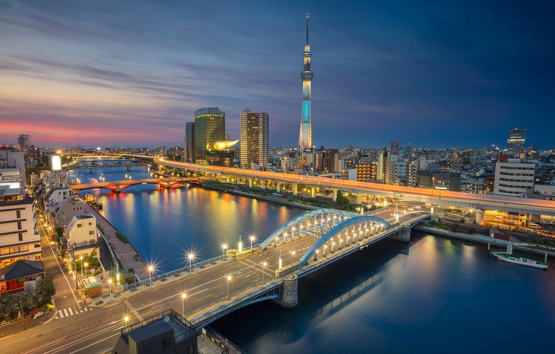 Photo wallpaper night, bridge, lights, river, tower, home, Japan, Tokyo