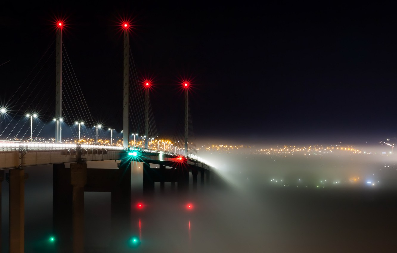 Photo wallpaper Bridge, Scotland, Into the Mist, Transport, Kessock