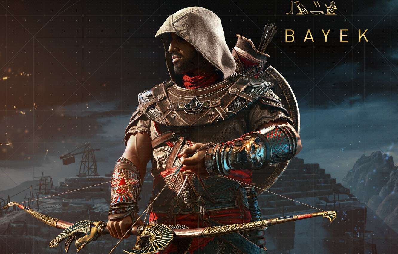 Photo wallpaper weapons, meadow, assassin, Assassin's Creed, Assassin's Creed: Origins, Bayek, Biek, Origins, medjai