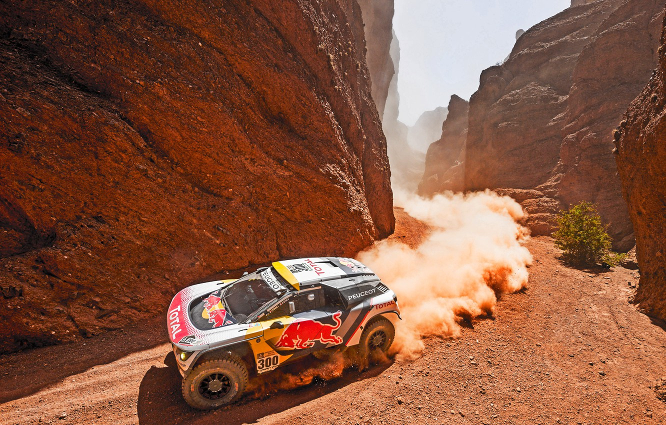 Photo wallpaper Mountains, Dust, Rocks, Sport, Speed, Race, Dirt, Day, Gorge, Peugeot, Lights, Heat, Red Bull, Rally, …