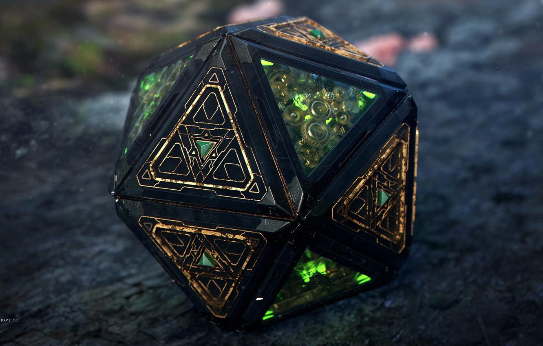 Photo wallpaper art, 3D steampunk magic thingy, Davison Carvalho, icosahedron