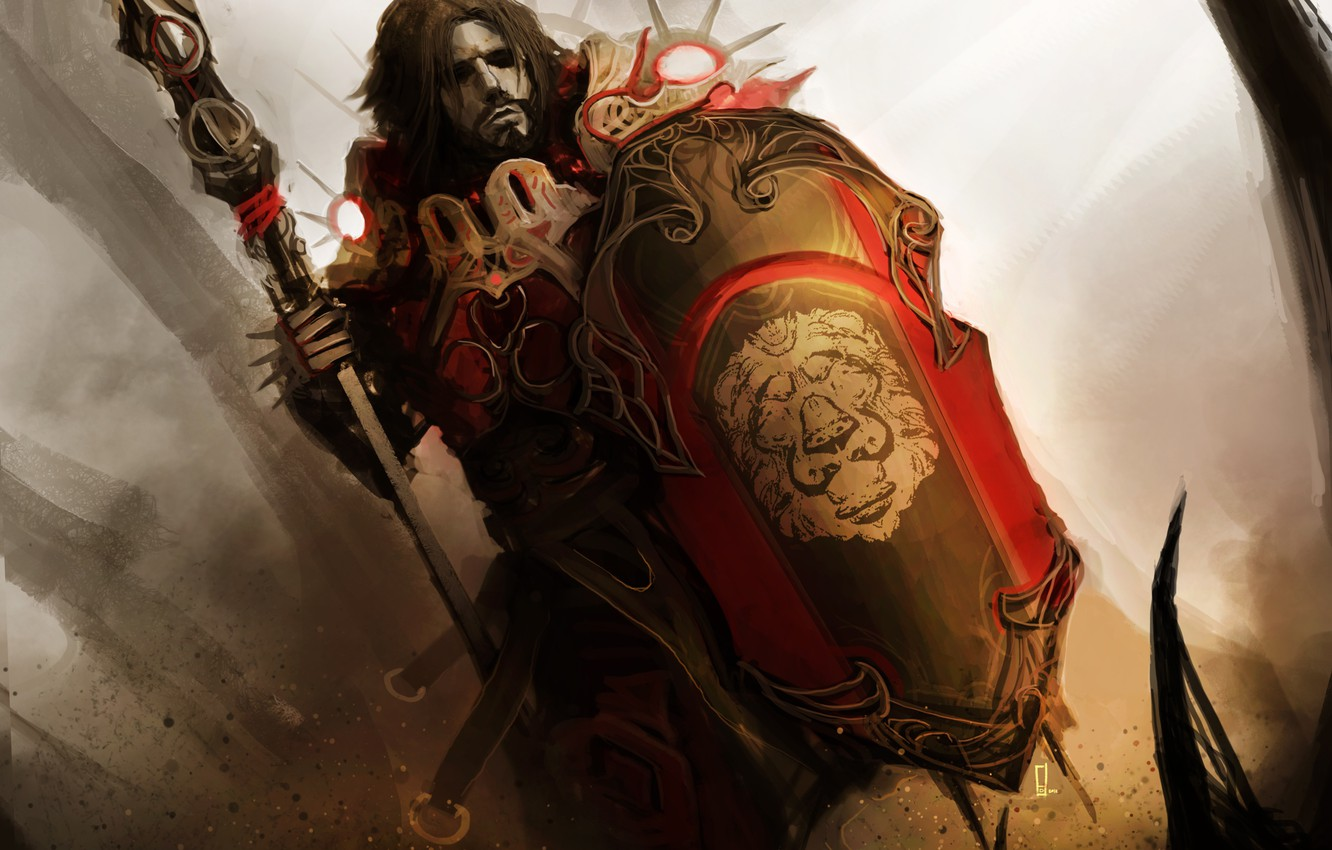 Photo wallpaper shield, spear, theDURRRRIAN, shield master, the head of a lion