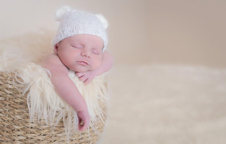 Photo wallpaper basket, child, baby