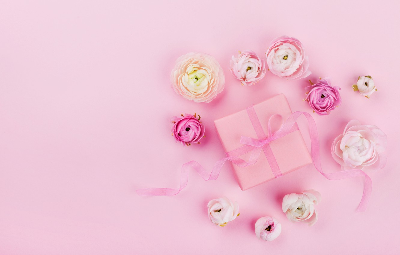 Photo wallpaper flowers, pink, holiday, gift, tape, pink, wedding, decor, gift box, Julia Sudnitskaya