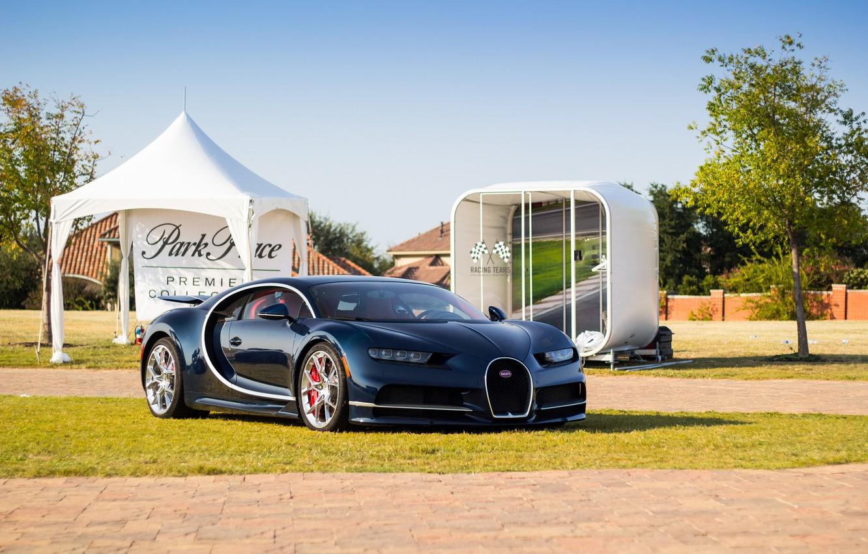 Photo wallpaper Bugatti, Blue, Chiron, Darck