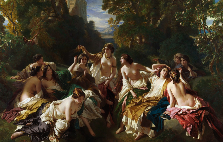Photo wallpaper erotic, picture, mythology, Franz Xaver Winterhalter, Franz Xaver Winterhalter, Florinda