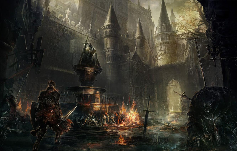 Photo wallpaper castle, sword, warrior, architecture, Dark Souls-III