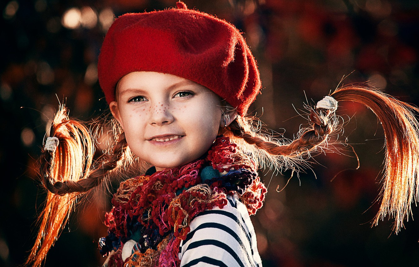 Photo wallpaper scarf, girl, freckles, braids, child, takes, Pippi, Longstocking