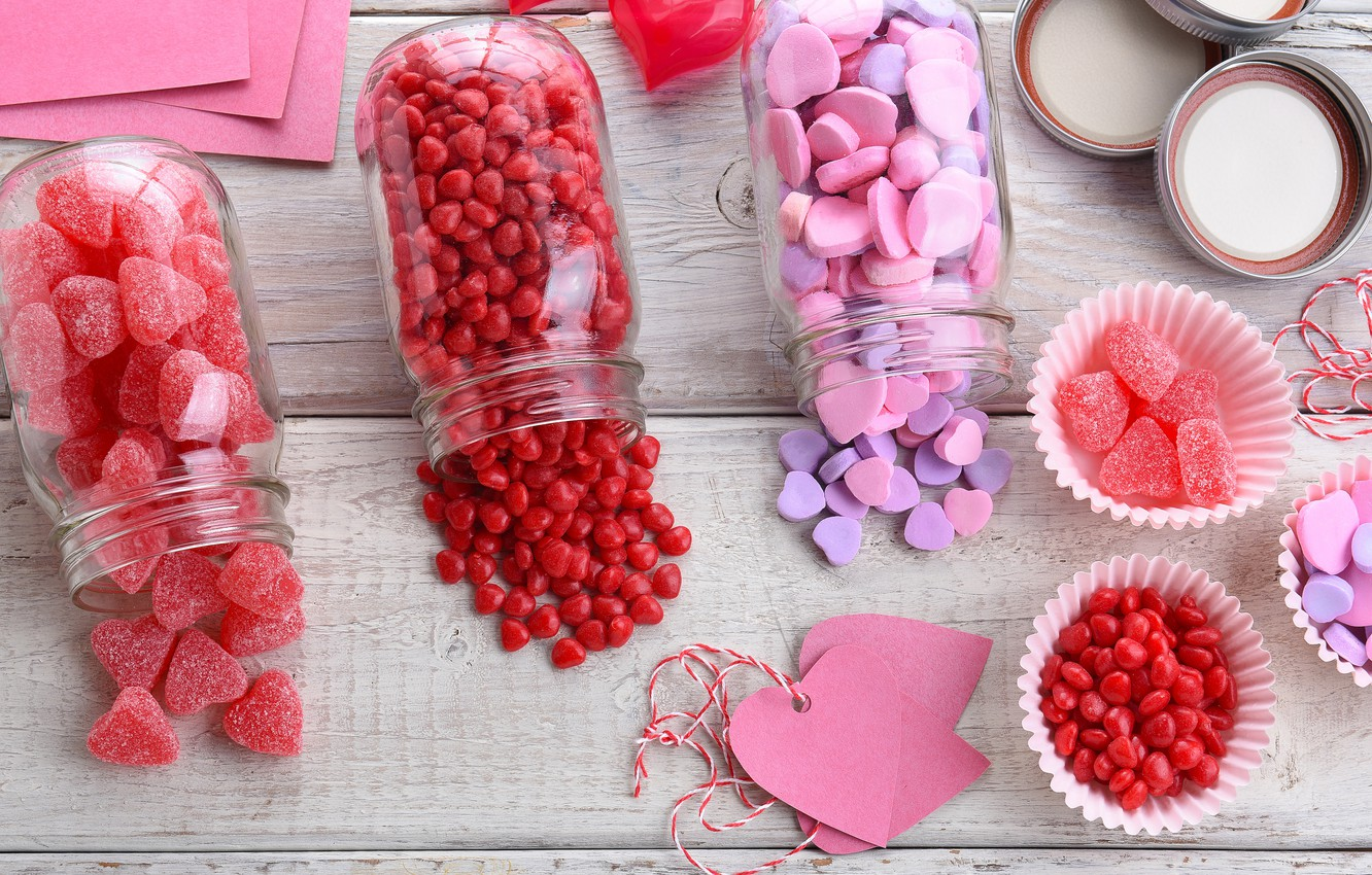 Photo wallpaper candy, hearts, love, pink, romantic, hearts, sweet, marmalade, candy