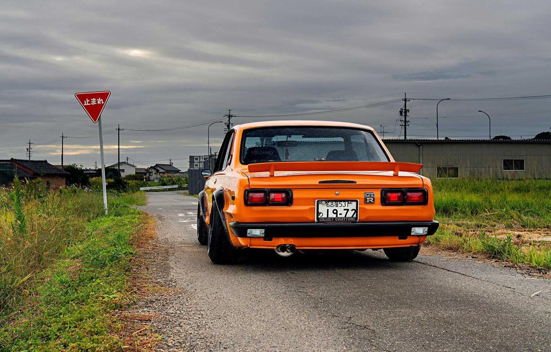 Photo wallpaper Auto, Machine, Orange, Nissan, Nissan, Lights, Car, 2000, Skyline, Nissan Skyline, 1972, 2000GT, Japanese, Back, …