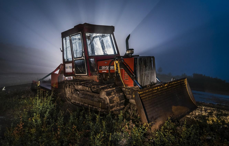 Photo wallpaper light, night, tractor