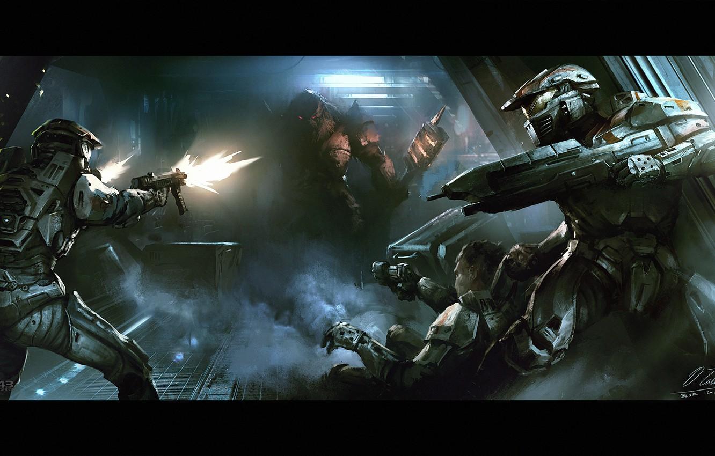 Photo wallpaper fiction, corridor, machine, alien, armor, fight, halo, Halo Wars