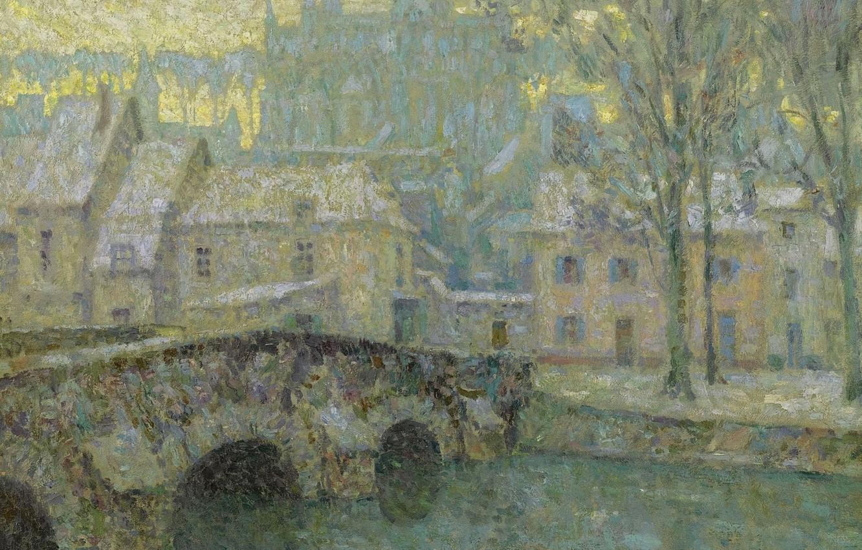 Photo wallpaper winter, bridge, home, picture, the urban landscape, Henry Le Sedane Products, Henri Le Sidane, Chartres …