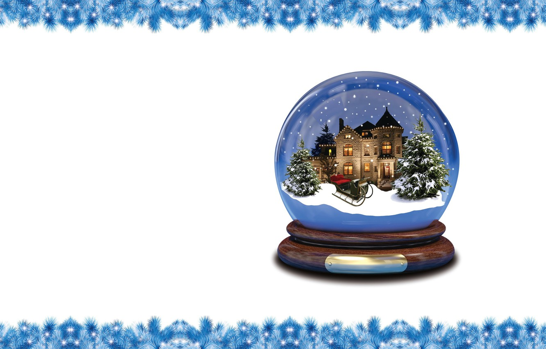 Photo wallpaper winter, mood, holiday, minimalism, art, New year, snow globe