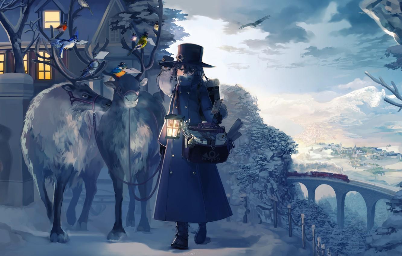 Photo wallpaper house, Winter, animals, landscape, anime, snow, birds, train, artwork, reindeer, children, cold, lantern, postman