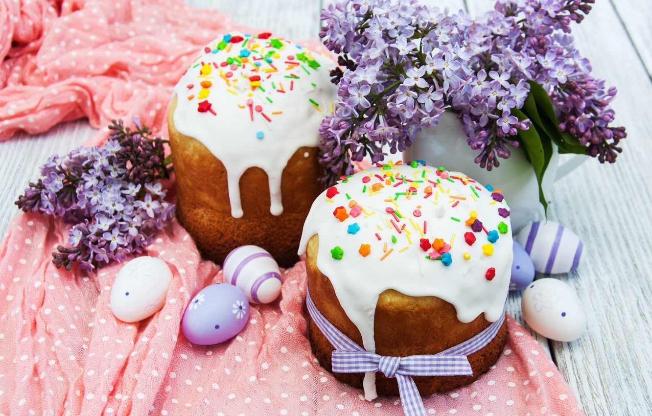 Photo wallpaper flowers, Easter, cake, cake, flowers, cakes, lilac, glaze, spring, Easter, eggs, decoration, Happy, lilac, the …