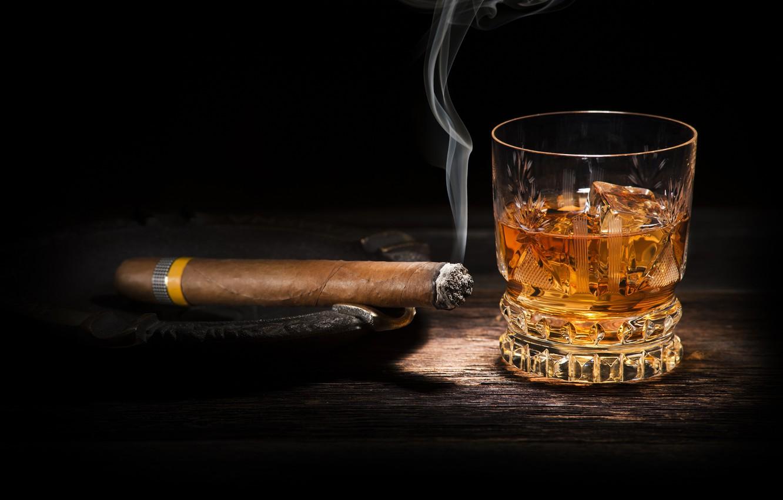 Photo wallpaper whiskey, smoke, cigar