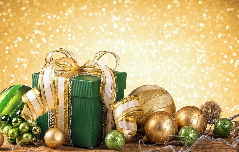 Photo wallpaper New Year, Christmas, golden, christmas, balls, merry christmas, gift, decoration, xmas