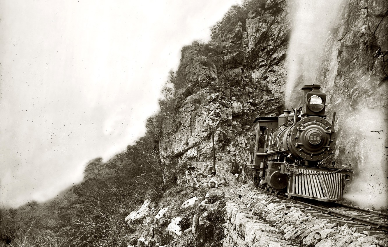 Photo wallpaper retro, rocks, train, the engine, USA, 1890-the year