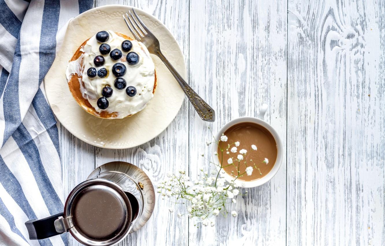 Photo wallpaper berries, Breakfast, blueberries, pancakes, wood, cocoa, breakfast