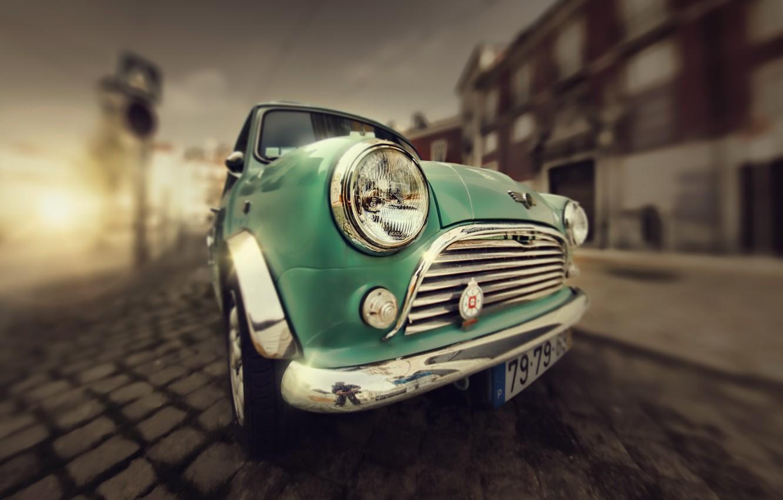 Photo wallpaper background, street, Mini Cooper