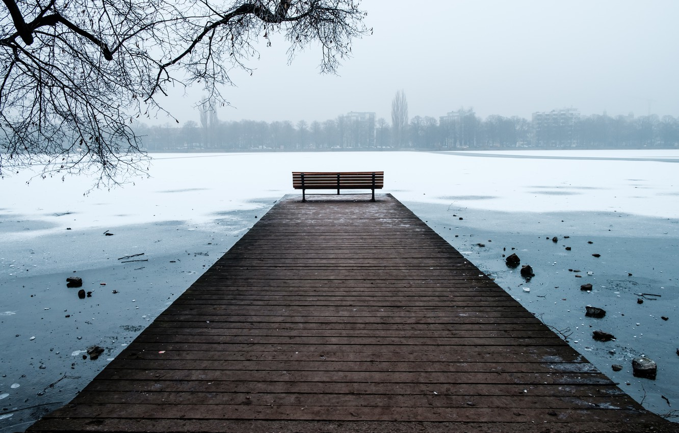 Photo wallpaper Winter, Snow, Hannover, frost, Bench