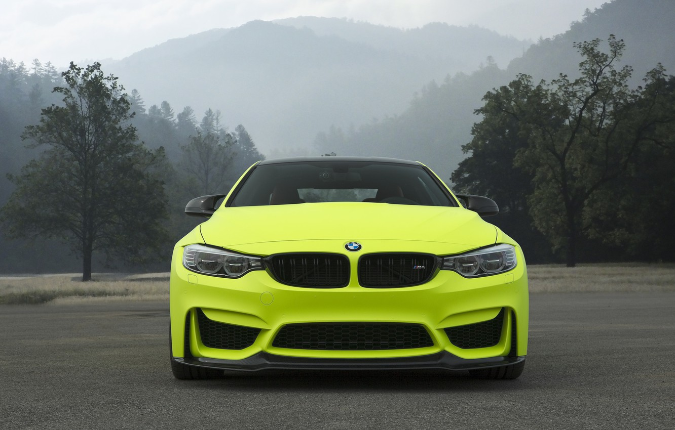 Photo wallpaper BMW, Front, Yellow, Mountains, F82, Sight