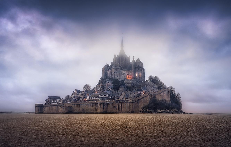 Photo wallpaper the sky, rock, France, panorama, fortress, France, Normandy, Normandy, Mont-Saint-Michel, Mont Saint-Michel