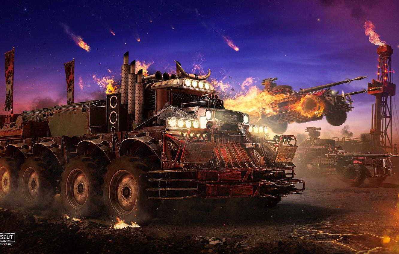 Photo wallpaper fire, technique, transport, crossout, devil truck