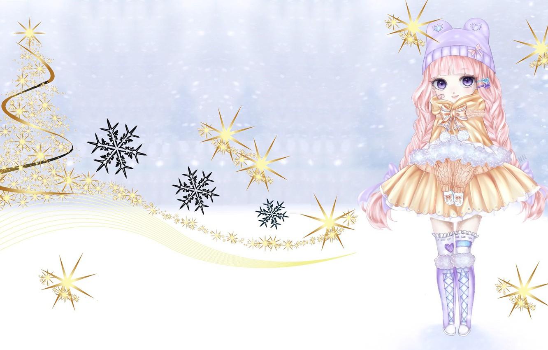 Photo wallpaper winter, holiday, art, girl, New year, snowflake, No Name