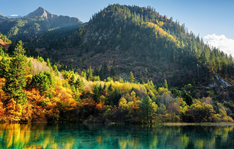 Photo wallpaper autumn, forest, trees, mountains, lake, China, Sunny, colorful, reserve, Jiuzhaigou, Jiuzhaigou
