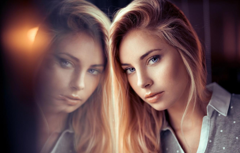 Photo wallpaper eyes, look, girl, reflection, portrait, Lods Franck, Cassandra, Cassandra Lamarche
