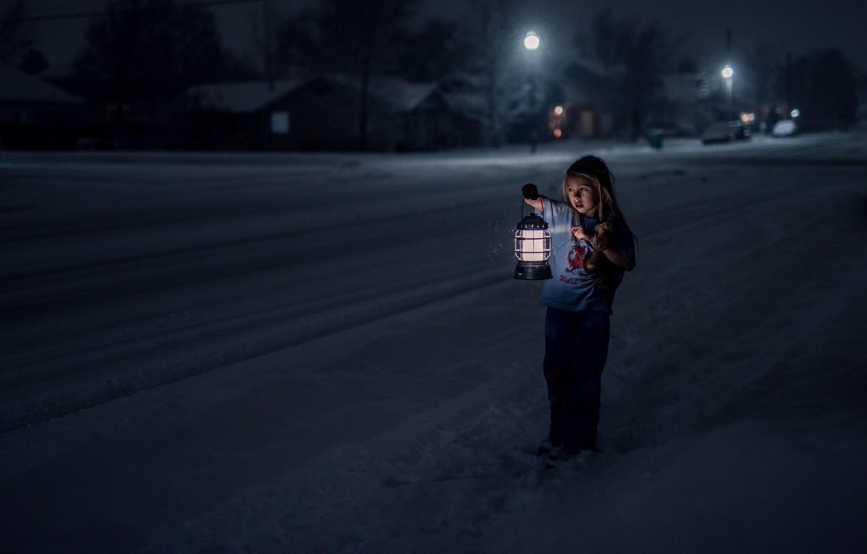 Photo wallpaper cold, winter, loneliness, fear, street, girl, lantern