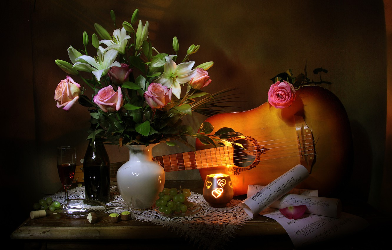 Photo wallpaper flowers, berries, notes, wine, Lily, bottle, guitar, roses, candle, glasses, candy, grapes, leaves, vase, table, …