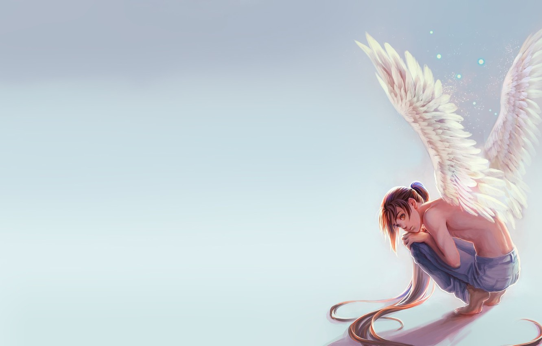 Wallpaper Mood Wings Minimalism Angel Anime Art Guy