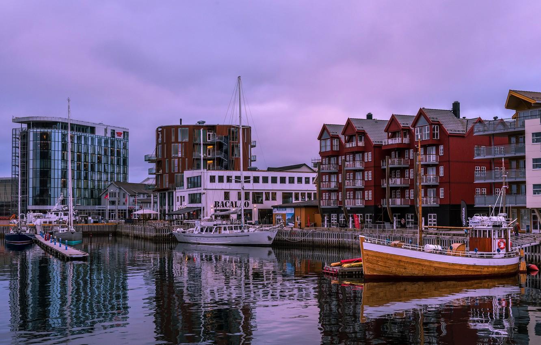 Photo wallpaper home, Bay, yachts, the evening, Norway, Bay, piers, The Lofoten Islands, Pure, Lofoten