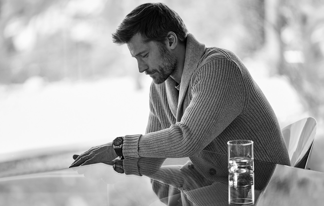Photo wallpaper actor, black and white, Nikolaj Coster-Waldau
