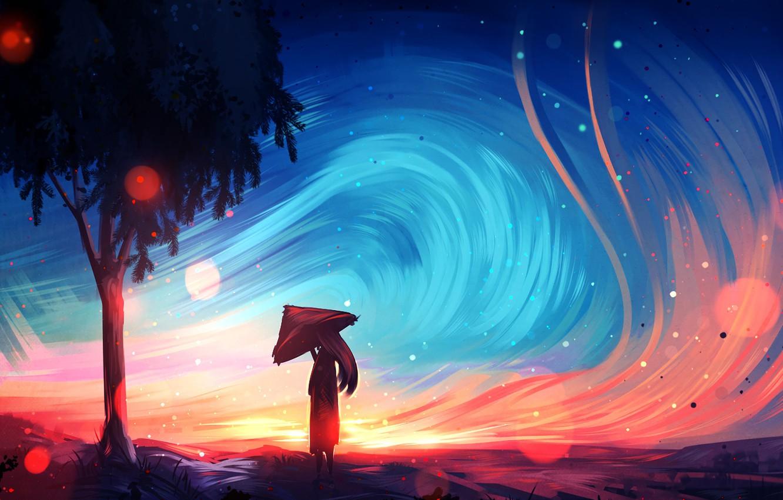 Photo wallpaper girl, long hair, trees, landscape, umbrella, art, painting, artist, digital art, artwork, wind, painting art, …