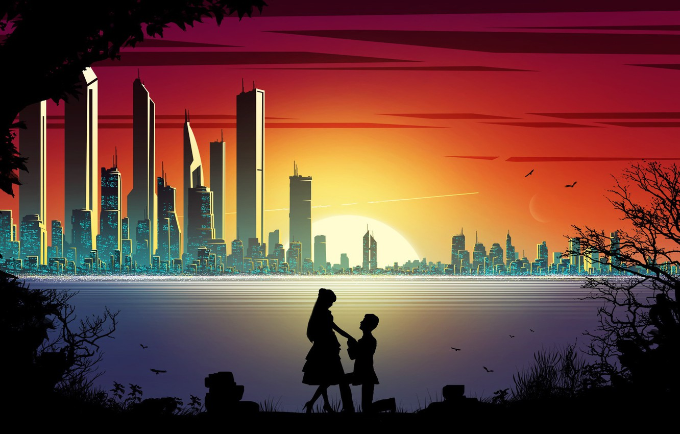 Photo wallpaper sunset, the city, romance, two, silhouettes