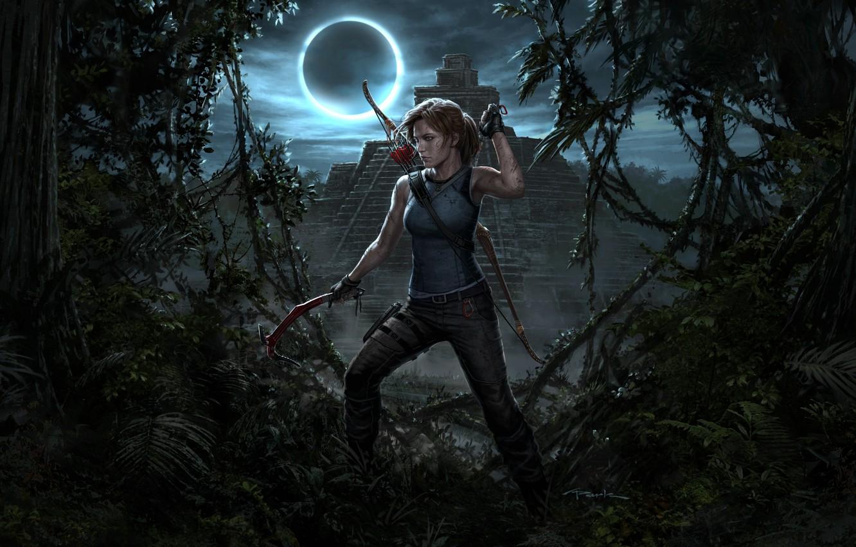 Photo wallpaper Girl, Bow, Temple, Tomb Raider, Lara Croft, Lara Croft, Ice pick, Shadow of the Tomb …