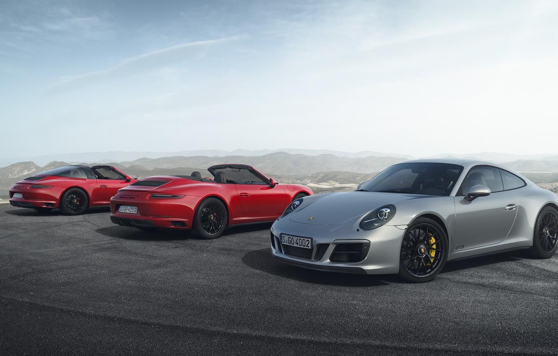 Photo wallpaper Red, Silver, Carrera 4 GTS Cabriolet, 911 Targa 4 GTS, 911 Carrera 4 GTS