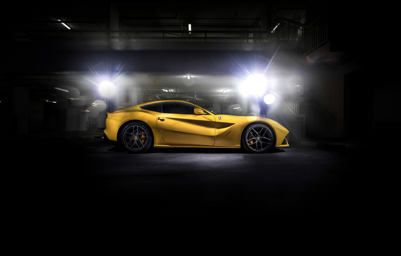 Photo wallpaper Ferrari, black, yellow, F12
