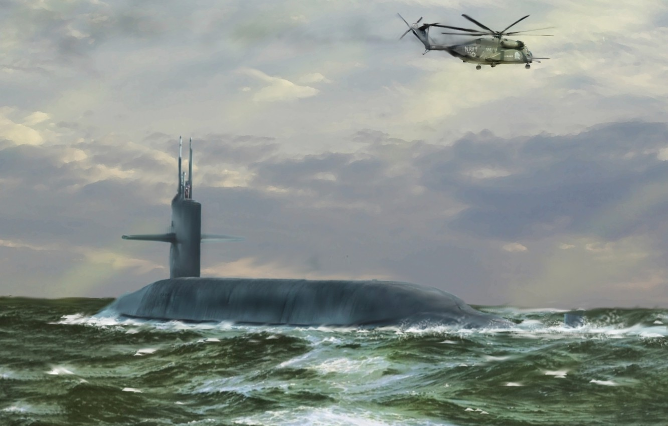 Photo wallpaper sea, wave, helicopter, hike, submarine