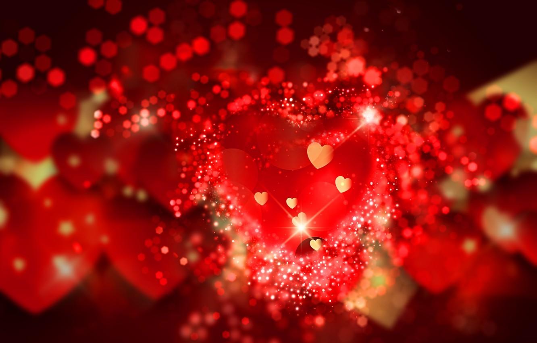 Photo wallpaper hearts, red, love, background, romantic, hearts, bokeh, Valentine's Day