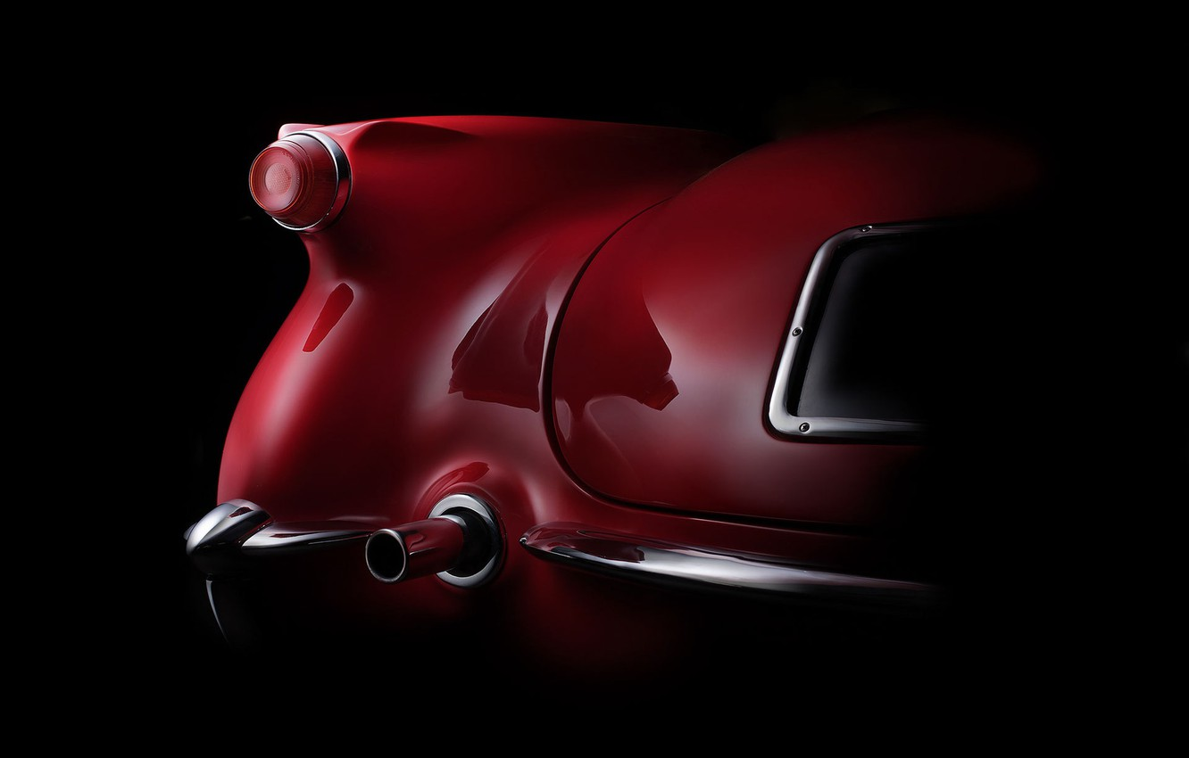 Photo wallpaper wing, curves, form, body, bumper, exhaust pipe, fine art photography, 1954 Corvette