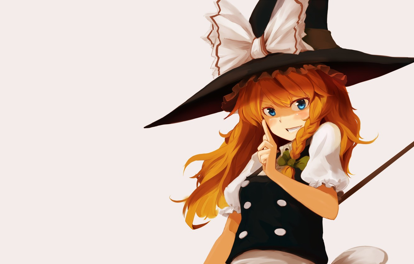 Photo wallpaper red, blue eyes, grey background, bow, gesture, art, pigtail, witch hat, Touhou Project, Marisa Kirisame, …