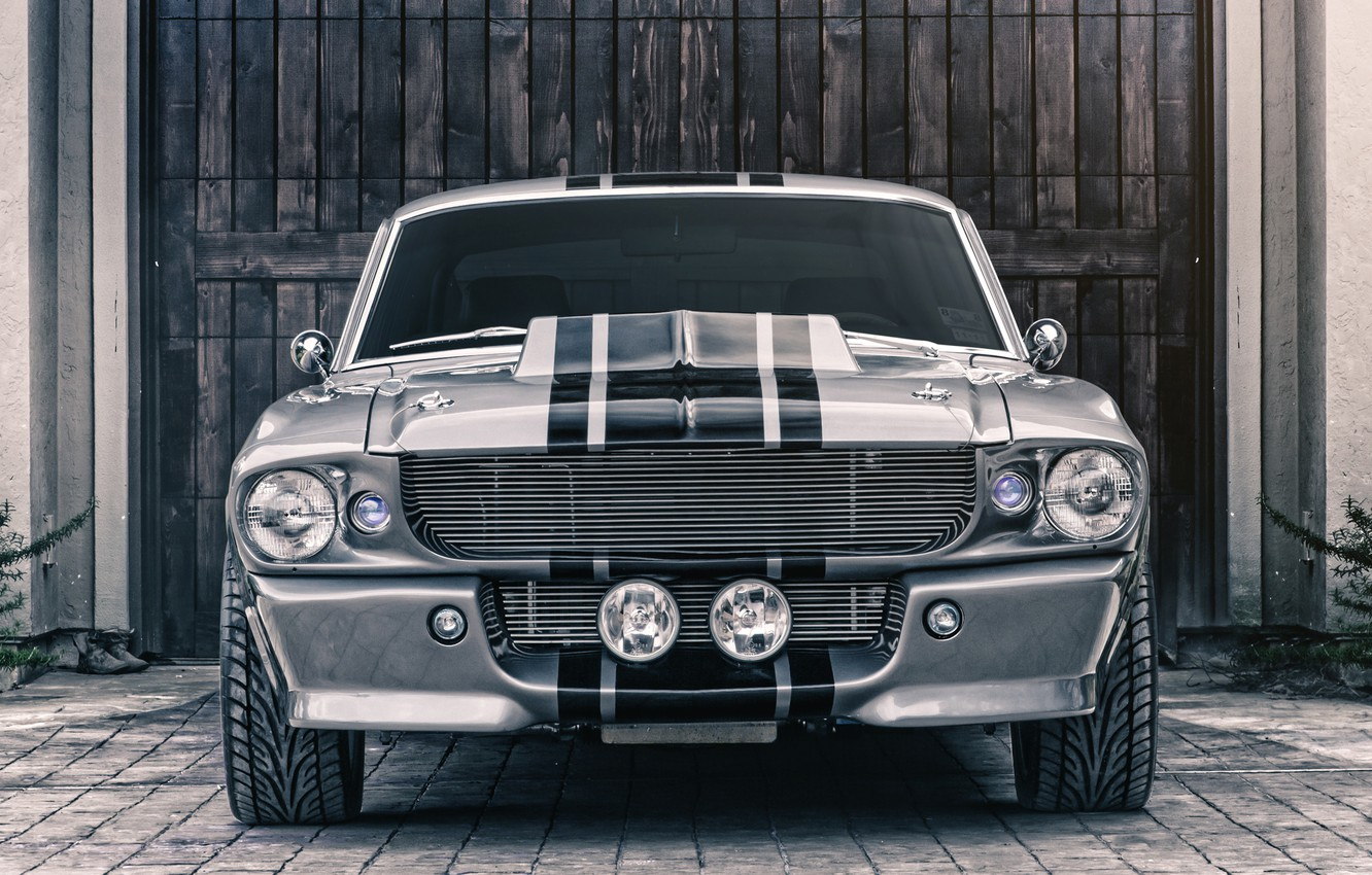 Photo wallpaper Mustang, Ford, Shelby, GT500, Eleanor, Muscle car, Silver