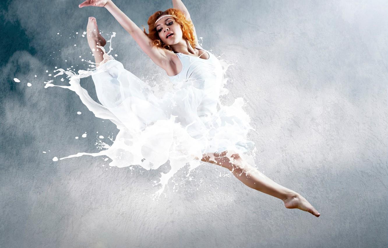 Photo wallpaper pose, creative, background, jump, smoke, dance, makeup, dress, hairstyle, legs, ballerina, redhead, in white, ballet